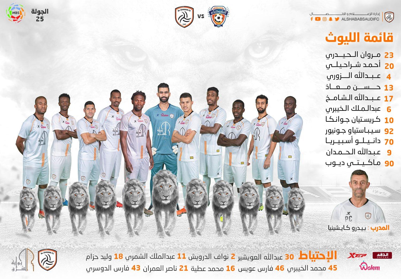 التشكيل الرسمي لمباراة الشباب والفيحاء - هاي كورة – النسخة السعودية