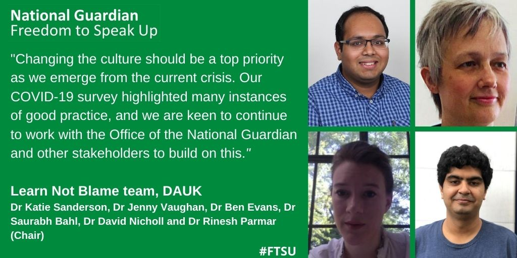 The #LearnnotBlame Team @TheDA_UK share the results of their #ProtectTheFrontLine survey which asked their members' about their ability to speak up about issues at work, in relation to #PPE and other issues @KE_Sanderson @GasDocRP @DrJennyVaughan https://t.co/cmZiDzNFBt https://t.co/MbpkF4Qtlb