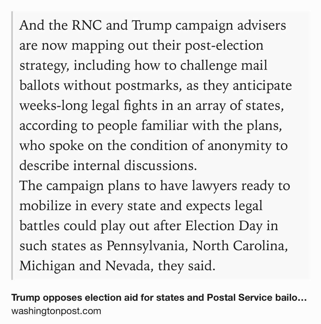 Trump campaign and RNC is reportedly working on a comprehensive legal strategy to challenge the election after Nov. 3 washingtonpost.com/politics/trump…