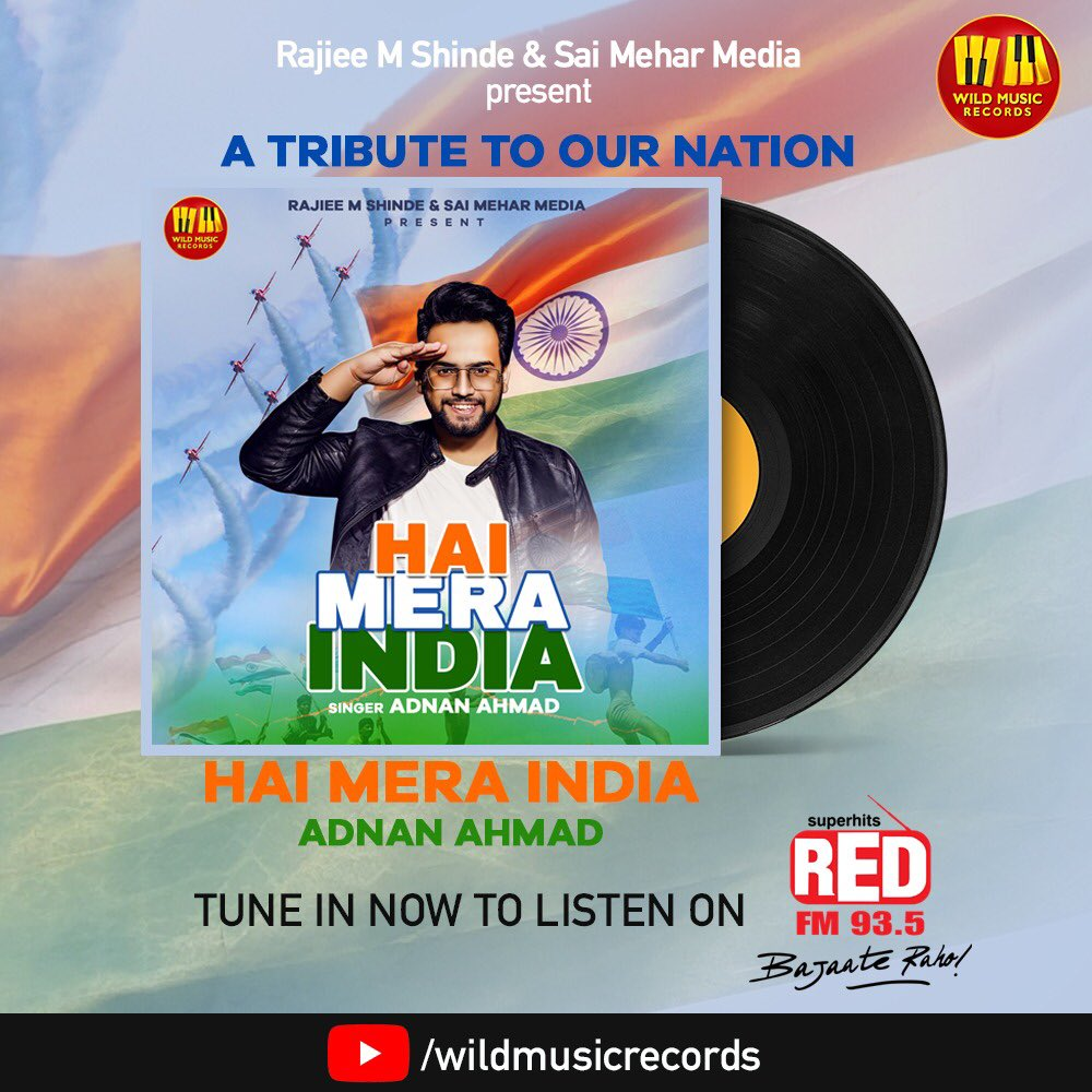 """Hamara Bharat Mahaan! Have you heard our song """"Hai Mera India"""" on @RedFMIndia yet? Go listen and support us! @935redfm  @RAJIEEMSHINDE ⚡️   Watch Now: https://t.co/b430UAp71p   #IndependenceDay #15th_August #freedom #Bharat #FridayMotivation #fridaymorning #61YearsOfKamalismCDP https://t.co/xBUuaw2xVA"""