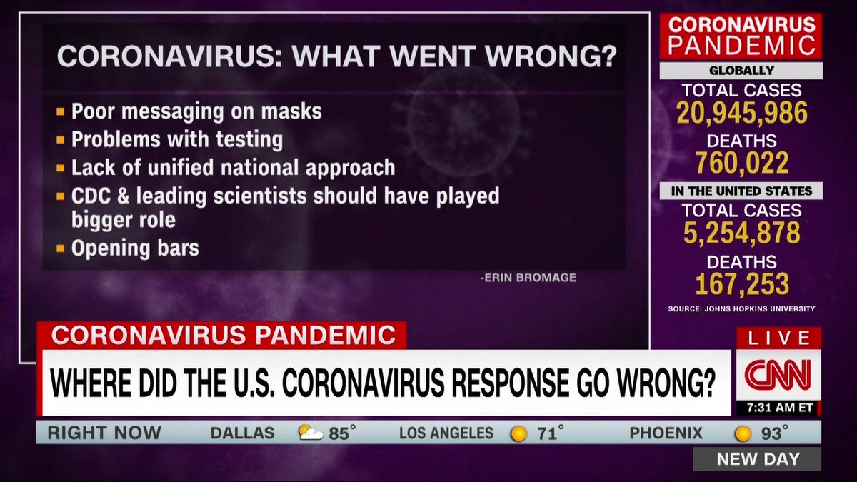 Heres what went wrong with the US response to the coronavirus pandemic, according to @ErinBromage: - Poor messaging on masks -Problems with testing - Lack of unified national approach - Opening bars - Health experts should have played a bigger role
