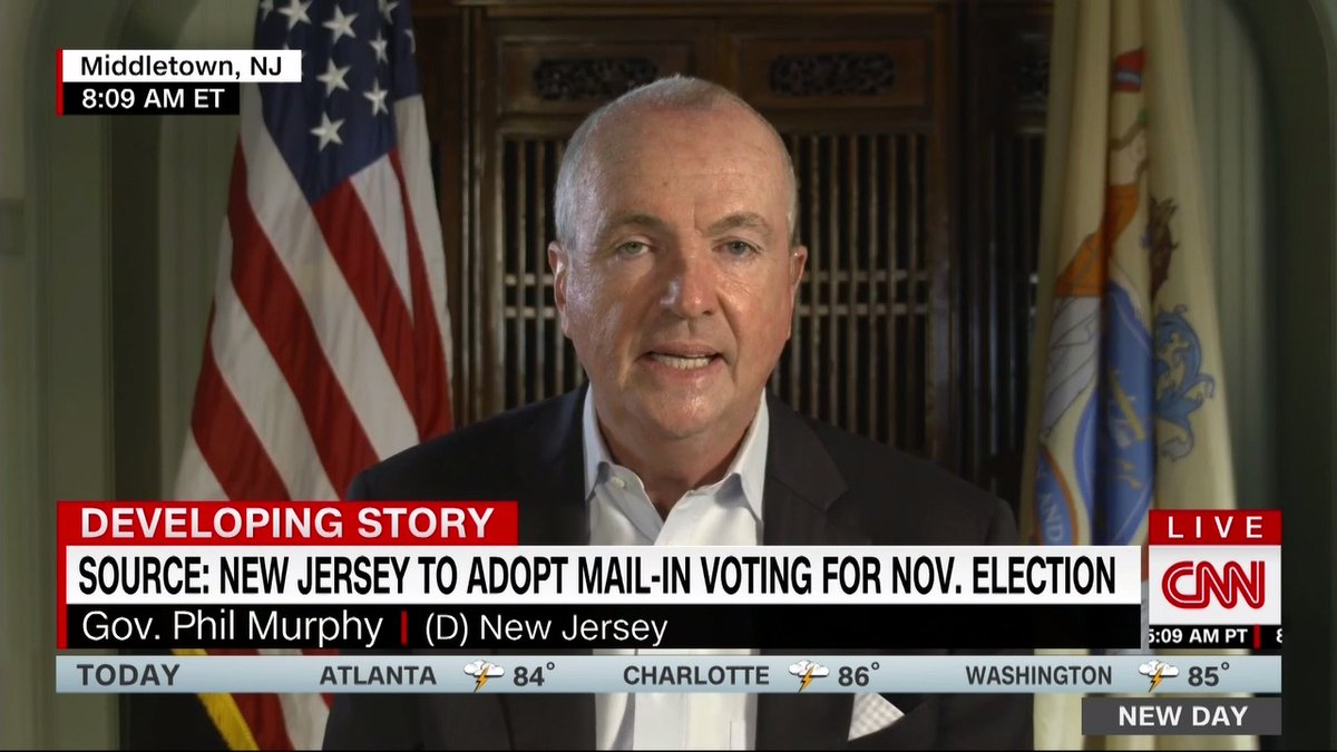 New Jersey will use a hybrid voting model for the November election, @GovMurphy confirms. All New Jersey residents will be mailed a ballot for the elections, and it will be up to them to decide if they would like to vote by mail or in person, he added. cnn.it/3kKjEi3