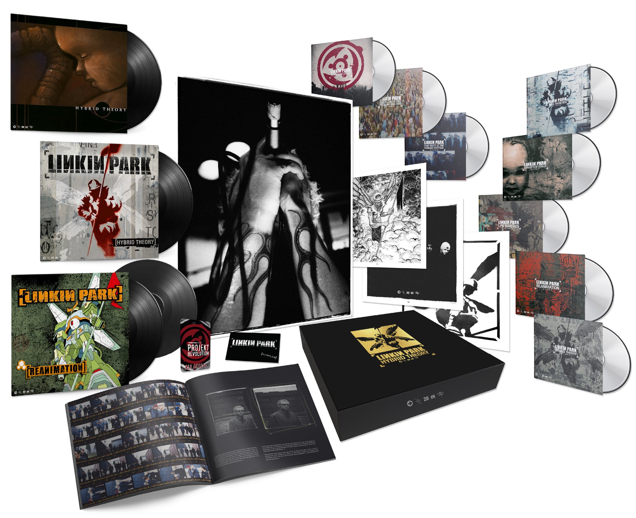 """LINKIN PARK on Twitter: """"In celebration of Hybrid Theory's 20th  Anniversary, we're releasing a limited edition super deluxe box set that  includes unreleased demos, 90+ minutes of never before seen live and"""