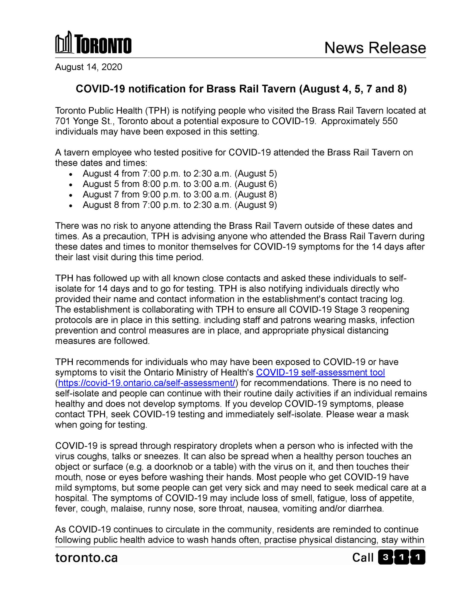 City Of Toronto On Twitter Covid19 Notification For Brass Rail Tavern August 4 5 7 And 8 News Release Https T Co 92n03i56cs