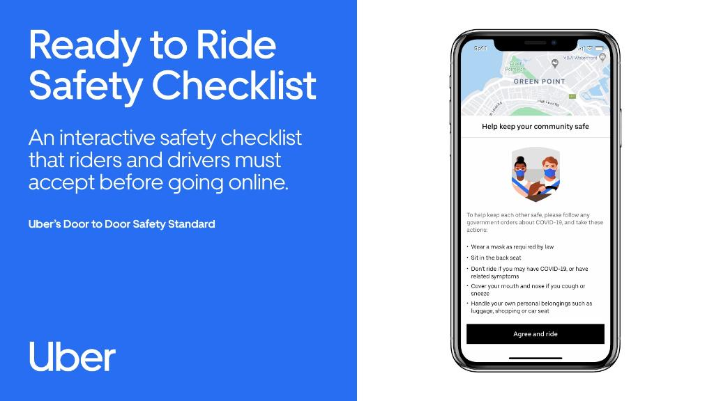 Ready to Ride Safety Checklist: An interactive safety checklist that riders and drivers must accept before going online. Find out more about Uber's Door-to-Door Safety Standard at https://t.co/0PEzSD4jDg. #RideSafeWithUber https://t.co/5P7HlnRQvR