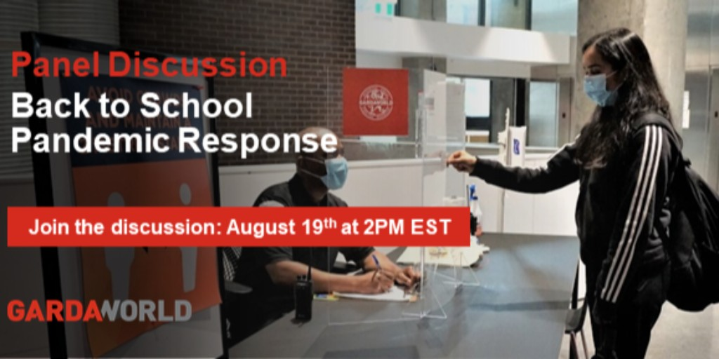 Join GardaWorld and our Canadian post-secondary educational institution panel (@RyersonU, @McMasterU, @mcgillu, @SFU ++) on August 19th at 2p.m. EST. Experts will discuss pandemic response tactics for campus environments. Register now: https://t.co/GZsSU998GN https://t.co/SA5Hj3XedS