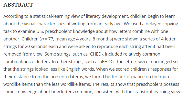 Children as young as 4-5 have knowledge of common letter groupings ($) tandfonline.com/doi/full/10.10…