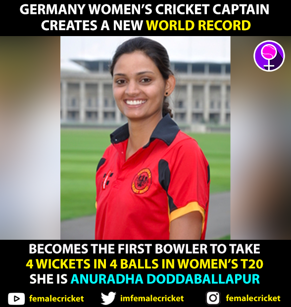 WORLD RECORD ALERT 🚨 Captain of Germany Womens Cricket team Captain Anuradha Doddaballapur took 4 WICKETS IN 4 BALLS today playing against Austria. #AUSvGER #GERvAUS