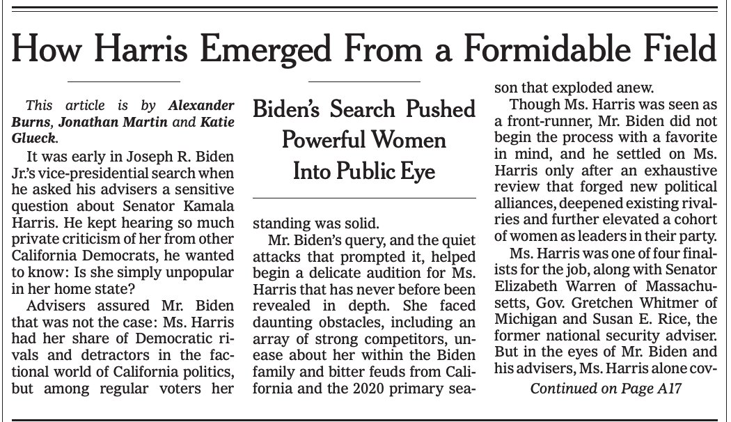 On A1 today: the making of Biden-Harris  - We ID all 4 finalists, incl Warren - Duckworth rocked interview but lawyers feared birther-style suits - Bass & Biden both knew Cuba was a lit fuse - Wariness of Team Kamala abounded  @jmartNYT @katieglueck & me👇 https://t.co/nIZhaD8Usz https://t.co/wI6F65rN7L