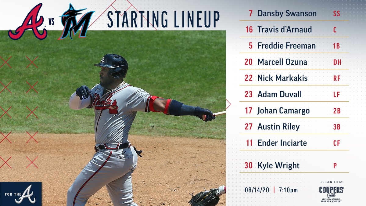 Heres how the #Braves will line up for tonights series opener in Miami. #ForTheA