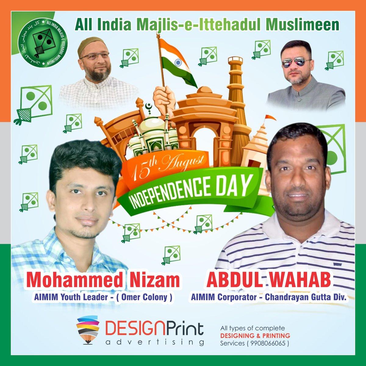 #Islam Mera Deen hai Aur Hind Mera Watan, Na Mai Deen Chod Sakta hu Na Mera Watan.  Saare Jahan Se Accha Hindustan Hamara  #HappyIndependenceDay  #JaiHind  @aimim_national https://t.co/MfZhIQDAns