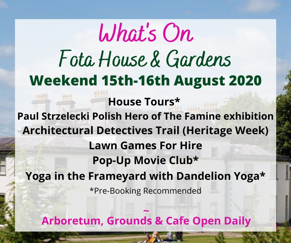 We're ready for a weekend of wonderful events at Fota House & Gardens! 🌿Have a beautiful weekend! 😄 #VisitFota #TourismTogether #PureCorkWelcomes @Failte_Ireland @ancienteastIRL @pure_cork @yaycork @mykidstime https://t.co/AVfYdSQGtr