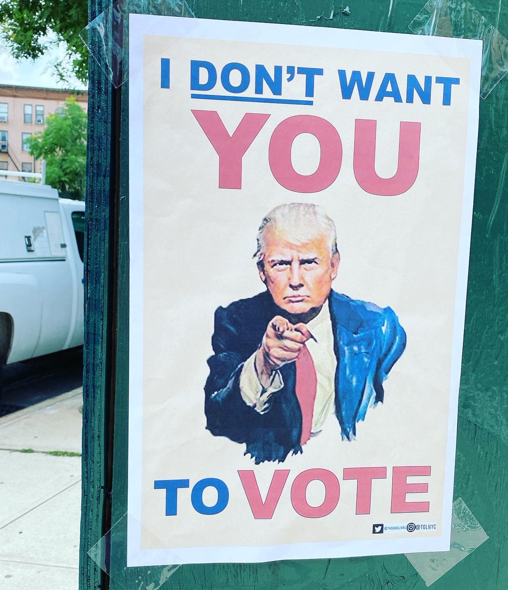 """I don't want you to vote"" signs up in Brooklyn."