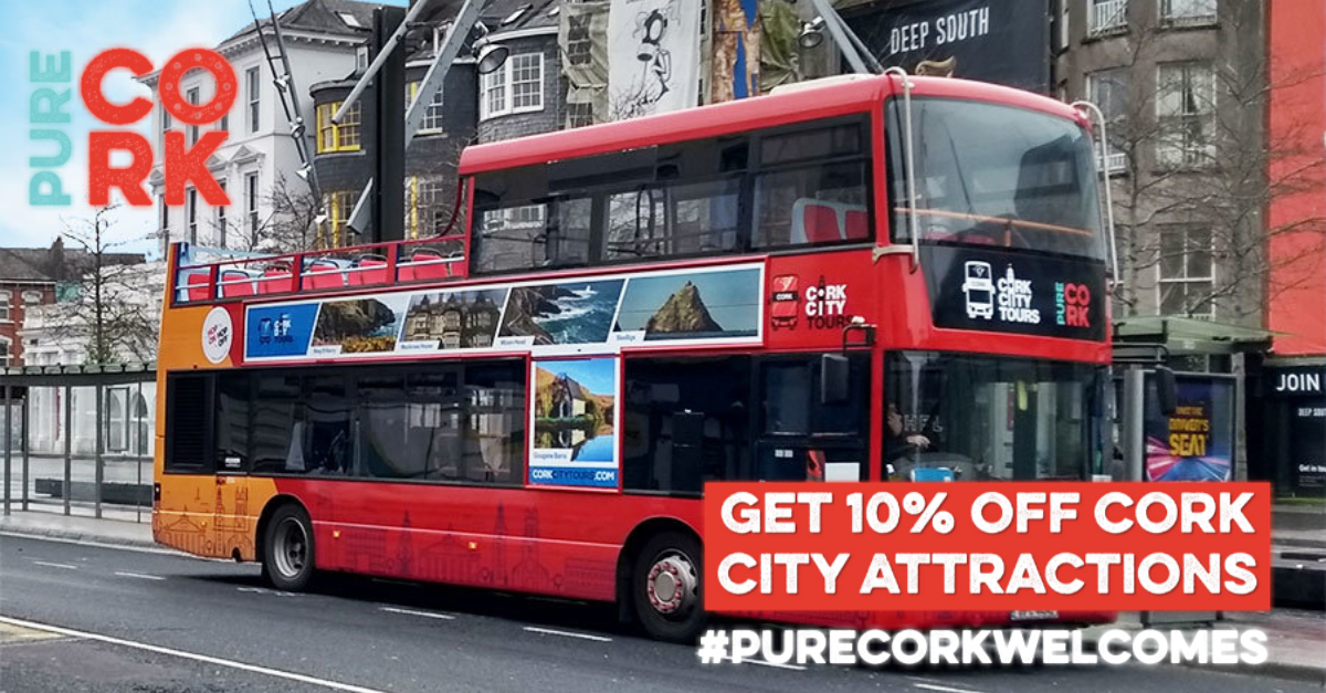 Visiting Cork City this weekend? Take our hop on/hop off tour when you visit an attraction and save 10% on entry fees when you present your bus ticket.   For full details see: https://t.co/nupTm9bFtH from @pure_cork   #cork #purecork #purecorkwelcomes https://t.co/llPvor93mB