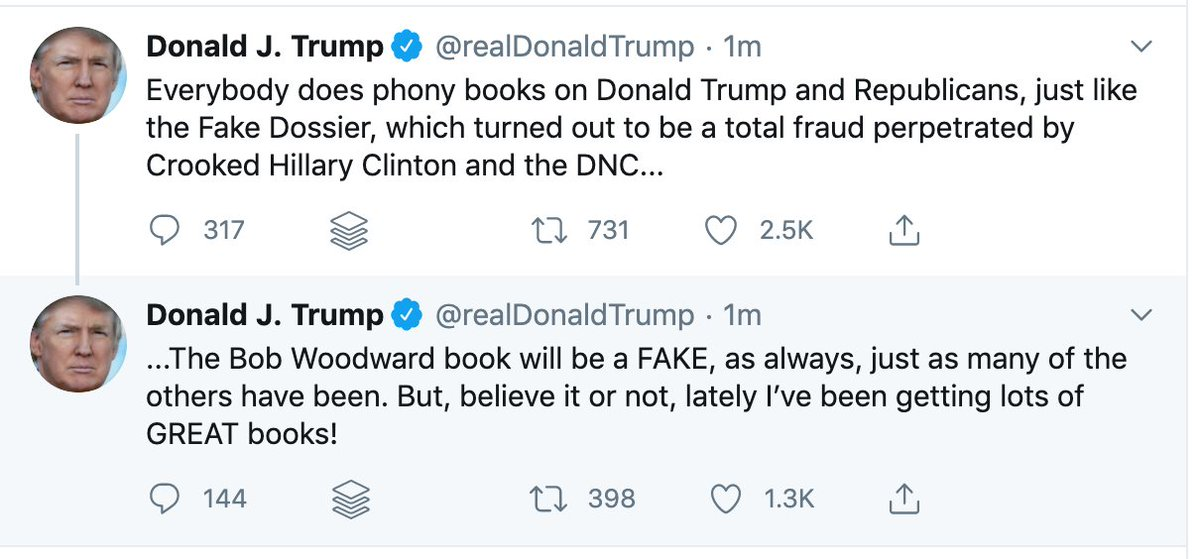 """Per CNN's @jamiegangel, Bob Woodward """"conducted 17 interviews with Trump for 'Rage' at the White House, Mar-a-Lago and over the phone between December 2019 and late July 2020."""" That's the context when Trump says the book """"will be a FAKE"""" https://t.co/V5HcYAE0ek"""