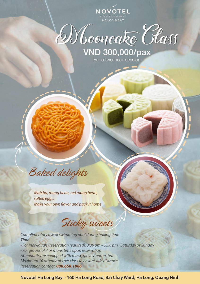 Join our special #MooncakeClass and explore all the traditional and contemporary flavours that could be added to your self-made #midautumn gifts.  🥮 VND 300,000/pax for a two-hour session 🥮 Please message or dial 0886581966 for reservation. https://t.co/2oPAgBN6GZ