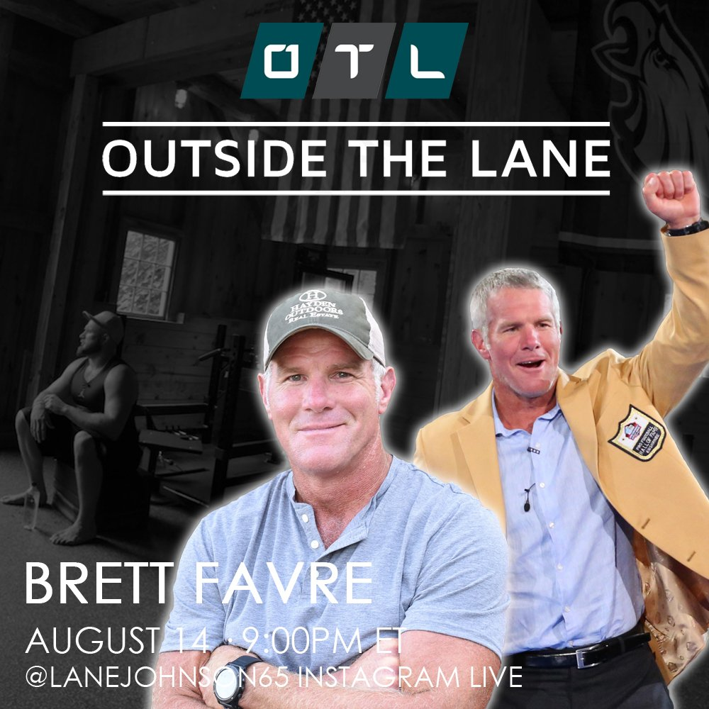Excited to have my childhood idol, fellow HS option QB, Super Bowl Champion, 11X Pro Bowler, 3X MVP, HOFer, & outdoorsman - @BrettFavre - on Outside The Lane tonight! 🏈  Tune in at 9pm ET on my Instagram Live: https://t.co/SanDfHWWYw #OTL https://t.co/iS2qRQfokL