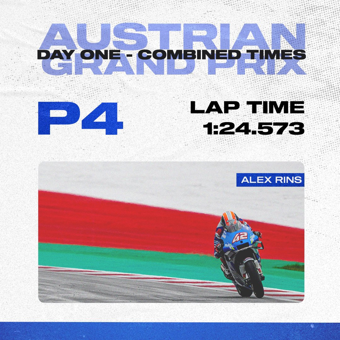 Nice opening day in Austria for our riders, 4th and 9th! 👏🏼 Tomorrow will be interesting, whatever the weather! ☀️⛈ @MotoGP @Rins42 @JoanMirOfficial #SUZUKing #AustrianGP