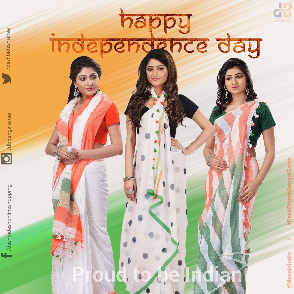 Wish you all a Happy Independence Day from Desh Bidesh Bengal Saree! Get them here: https://t.co/6yl3iv7StB #IndependenceDay #SareeTwitter #SareeBlouse #IndianSaree #SareeLover #FashionBlogger #Traditionalwear #EthnicWear #Saree #MadeinIndia #SareeSwag https://t.co/jyoFnQX1Rr