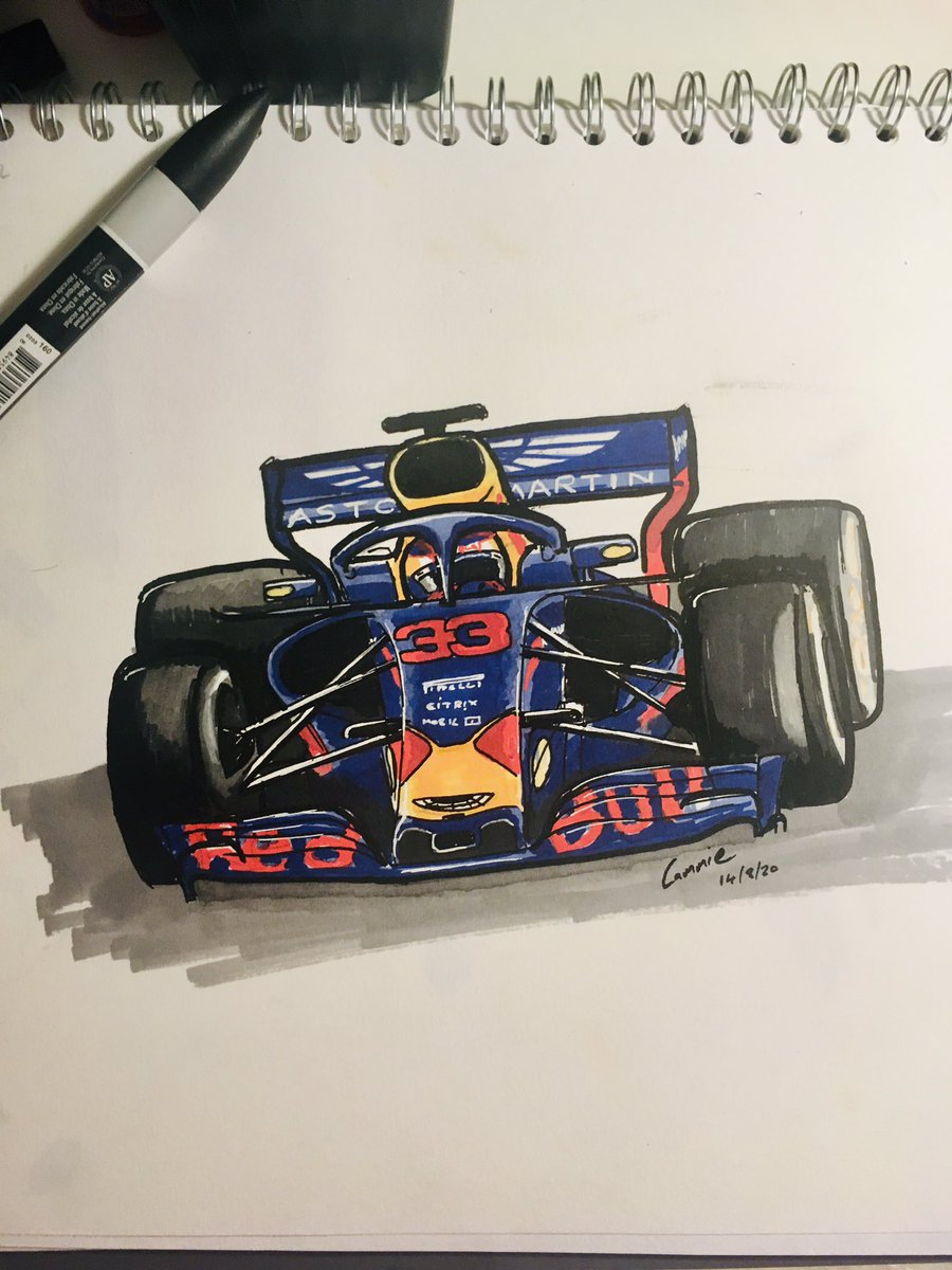 I bought more pens. It's addictive. I'm trying to do these sketches in an hour. Today it's @Max33Verstappen #maxverstappen #promarkers #f1 #redbull #verstappen #f1art #honda #astonmartin @redbullracing @HondaRacingF1 https://t.co/mpJwRVlpsg