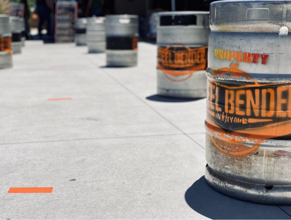 The road to beer is marked with orange Gorilla tape and keg shells. ⁠ ⁠Visiting our patio for a pint? ⁠ Make sure to #maskup and use our handy socially distanced sidewalk markings while you wait.  #strongerthansteel #builttobrew #supportlocal #wearamask #NMBeerLove ⁠ https://t.co/l8MGqGLvil