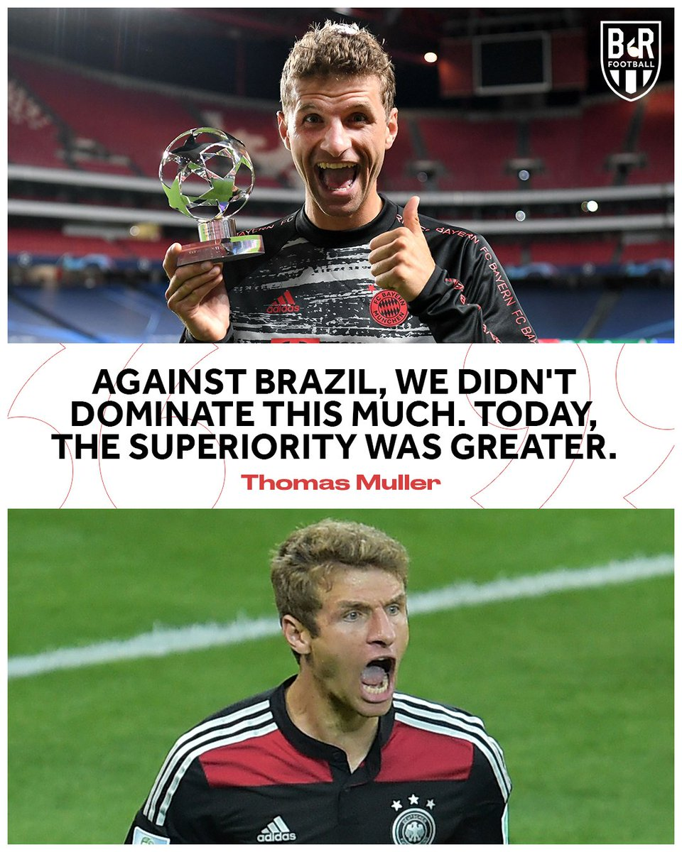 Thomas Muller was asked to compare todays game and Germanys 7-1 win over Brazil: