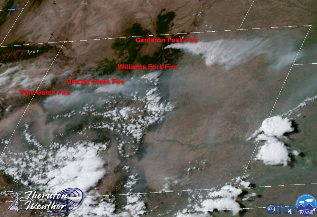 thornton weather on twitter smoke plumes from four major wildfires in colorado are clearly showing on satellite imagery this afternoon wildfire williamsforkfire cameronpeakfire grizzlycreekfire pinegulchfire cowx https t co anyo0glown smoke plumes from four major wildfires