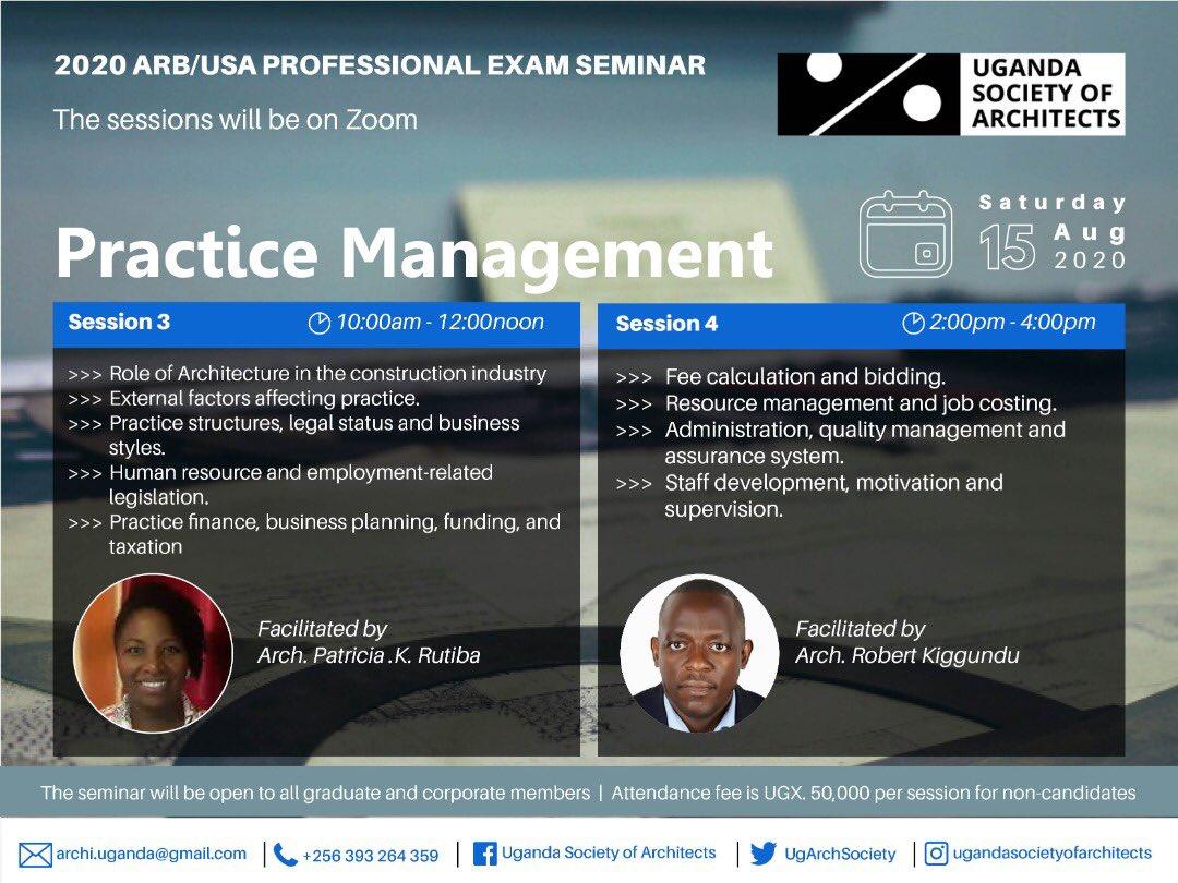 Don't miss today's Seminar on Practice Management! @JacintaKabs @KKCONSULTINGAR1 @IAZimbabwe @architectandre @ArchForumUganda @Arch_KE @ArchDaily @UIA_Architects @ARBUganda @AUA_UAA @rwadanladies @WanyangaStephen @ASA_IUEA @ArchSsinab @besa_fobe @ArchDigest https://t.co/r0H4TM7RWk