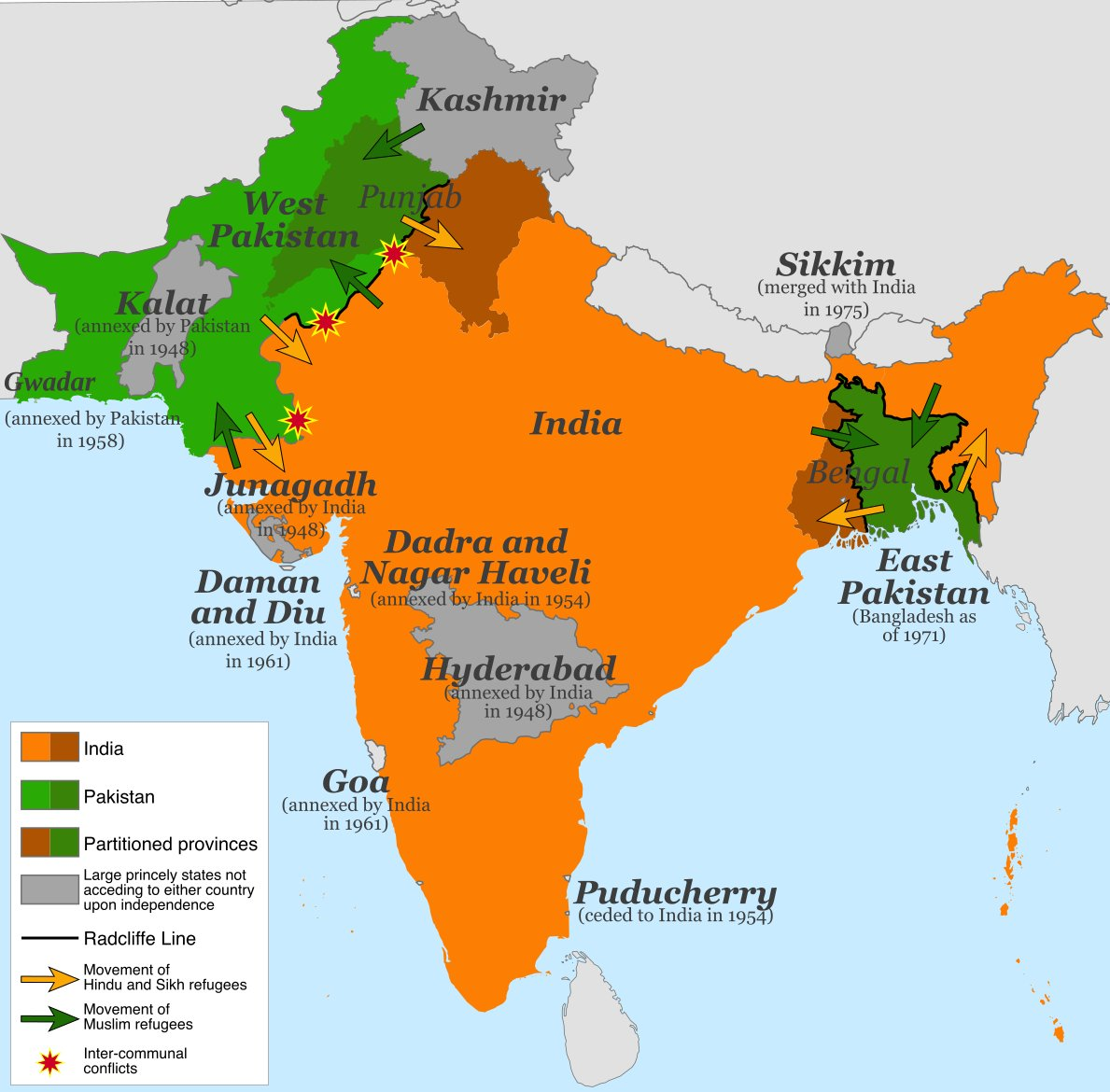 #3June 1947 Cyril Radcliffe appointed chairman of Boundary Commission  #8July 1947 Cyril Radcliffe arrives in Delhi  #13Aug 1947 Cyril Radcliffe submits partition map  #14Aug #15Aug 1947 Pakistan & India divided & declared independent nations  #17Aug 1947 Radcliffe line released. https://t.co/cEp1Ao8IyH