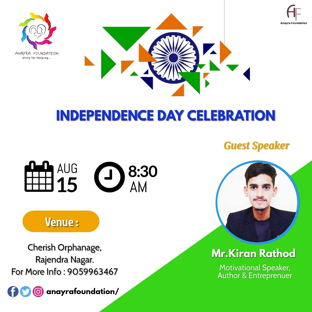 It will be an honour to share the stage with Cherish Orphans, on 15th August. • #HappyIndepenceDay #iamkiranrathod #inspire #motive #change  #kiranrathod007 #topsy #spreadlove #neverstopexploring #nevergiveup #nationfirst🇮🇳 #writerscommunity #entrepreneur #independenceday #India https://t.co/ZxEPiSDZ99