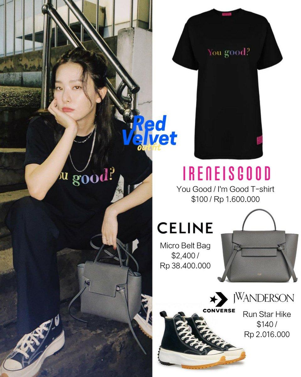 Red Velvet 𝐅𝐀𝐒𝐇𝐈𝐎𝐍 𝐒𝐓𝐘𝐋𝐄 On Twitter Seulgi 200811 Hi Sseulgi Instagram Update ㅡ Ireneisgood T Shirt 100 Celine Micro Belt Bag 2 400 Converse X Jw Anderson Run Star Hike 140 Redvelvet
