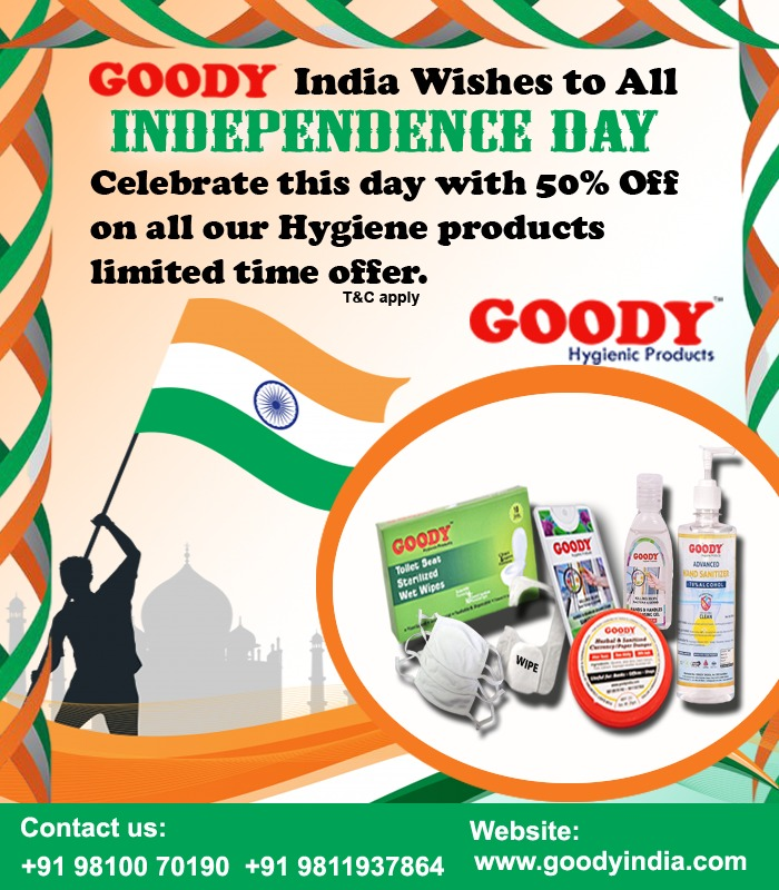 Goody India salutes freedom fighters but the salute to all will never be less. Saluting the entire nation, Happy Independence day!  To celebrate this day Goody India offers Desired Deal, Freedom Feel. Get 50% discount on all product range. To order, click: https://t.co/0CCr72eHrS https://t.co/eiew6zu06y