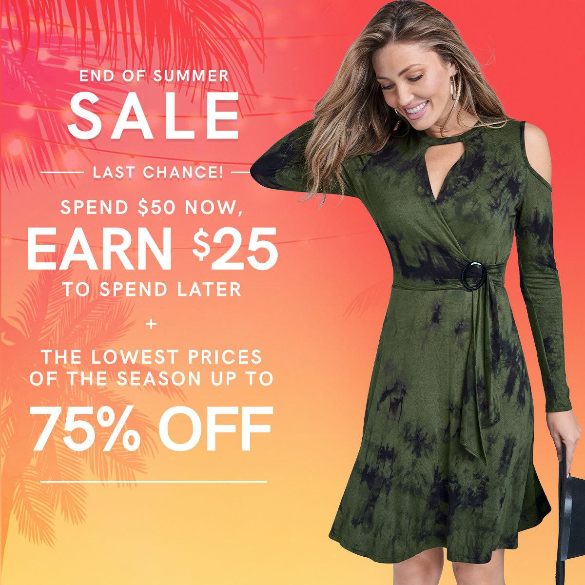 Here's a weekend treat: spend $50 now and earn $25 to spend later! Click the links below to redeem this offer.  Faux Wrap Tie Dye Dress: https://t.co/mFLTiyWDKR  End of Summer Sale: https://t.co/fLdQvO7l9d https://t.co/m0x82dkxir