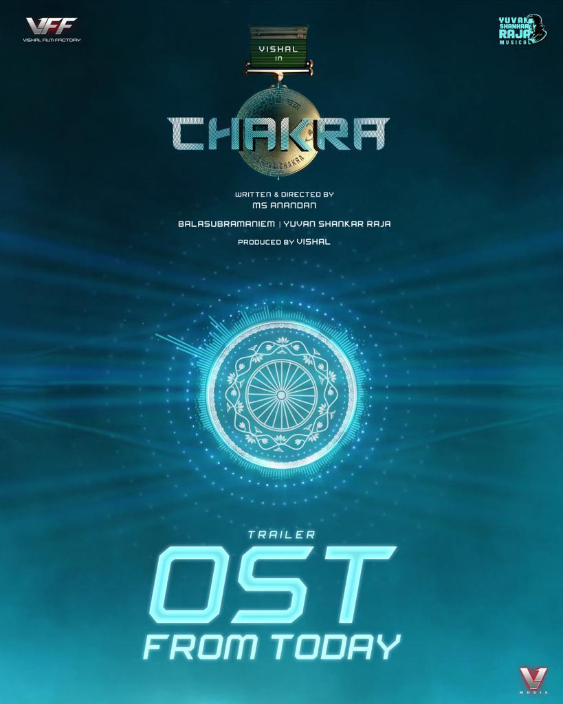 Chakra Trailer OST from today @ 5PM💥  #WelcomeToDigitalINDIA   #Chakra #ChakraOST  @VishalKOfficial @ReginaCassandra @ShraddhaSrinath @thisisysr @manobalam @srushtiDange @AnandanMS15 https://t.co/0N40cmWVyB