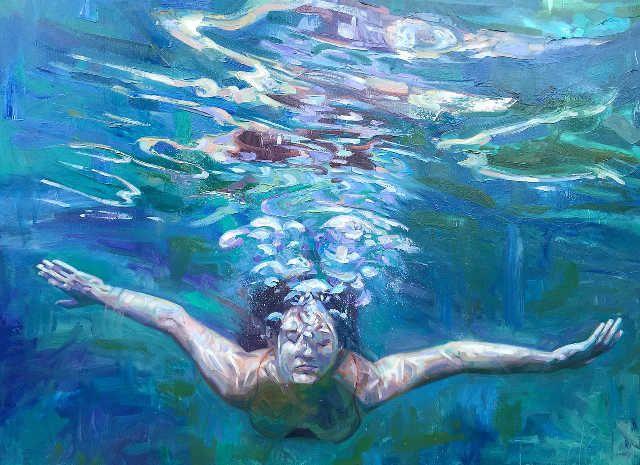 underwater painting of people by houston - HD1400×1050