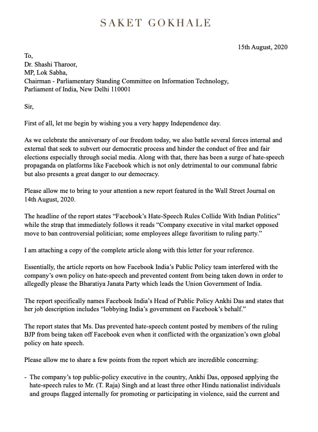 The WSJ article on Facebook India allowing hate speech by BJP leaders is extremely shocking & urgently needs an impartial probe. Ive, therefore, written to the Chairman of the Parliamentary Committee on IT Dr. @ShashiTharoor requesting if this can be taken up by the Committee.