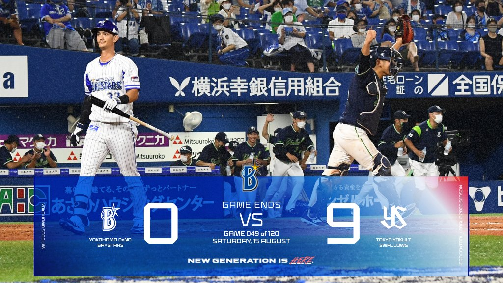 先発・ #今永昇太 選手が4回途中6失点で降板。 打線はヤクルト相手に ノーヒットノーランを喫し、連勝を逃す。 #baystars