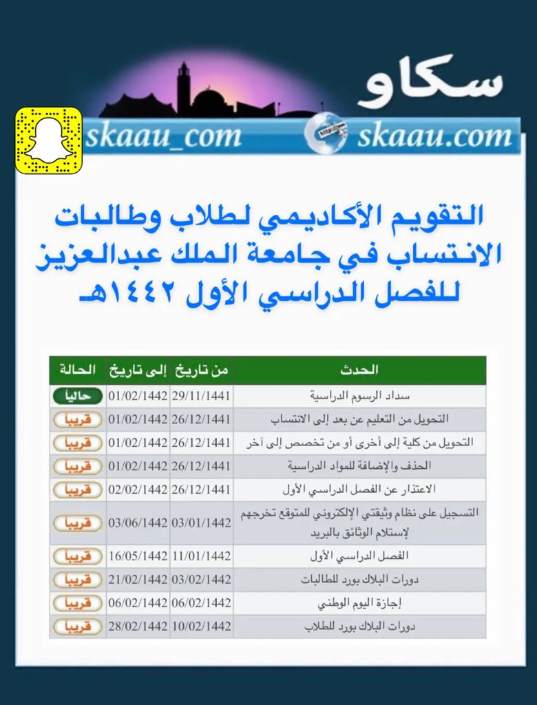 سكاو Pa Twitter التقويم الأكاديمي لطلاب وطالبات الانتساب التعليم عن بعد في جامعة الملك عبدالعزيز سكاو