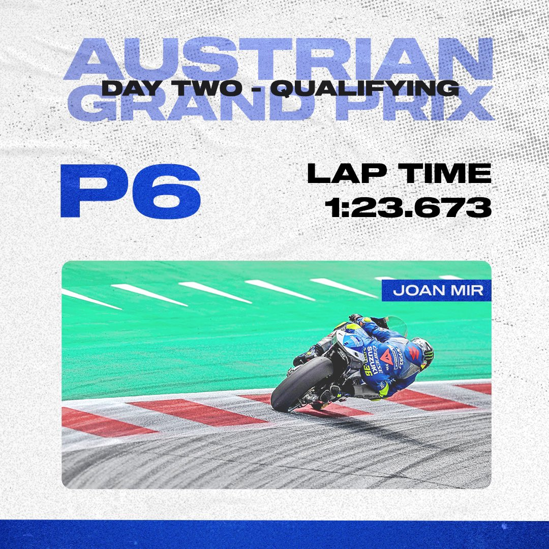 Our guys are feeling good 💪🏼. 6th and 8th in today's qualifying, ready to tackle the race 😎 @MotoGP @JoanMirOfficial @Rins42 #SUZUKing #AustrianGP
