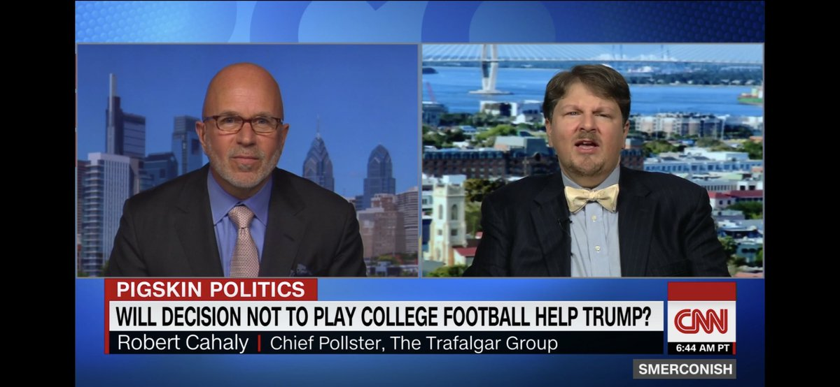 Great talk with @smerconish on @CNN & @CNNi this morning about how we at @trafalgar_group see postponing of @bigten #CollegeFootball impacting the opinions of #2020PresidentialElection swing voters in #Midwest #battleground states who see @SEC or @theACC teams play this fall.