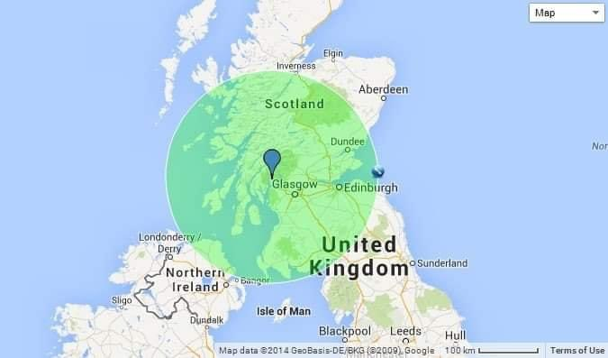 If one of the weapons stored in Scotland exploded it would kill everyone within green area. Why is this not stored next to U.K. Houses of Parliament - after all they want to keep them. #indynow.