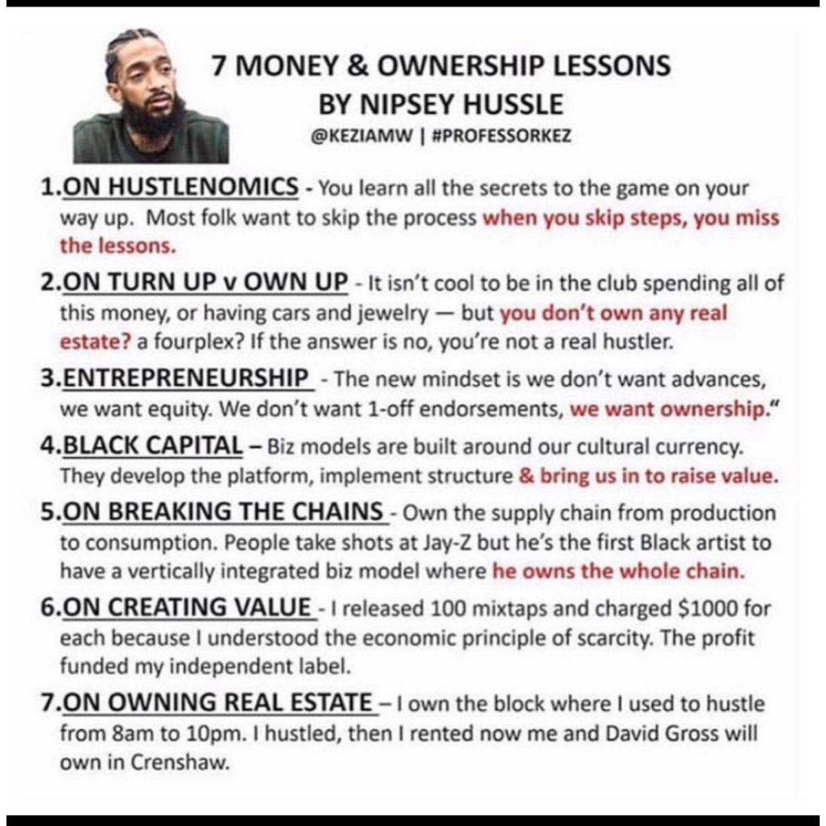 Nipsey was always dropping great financial advice RIP and happy bday nipsey #Finance #FinancialFreedom #Entrepreneur #NipseyHussle #NipseyBlue