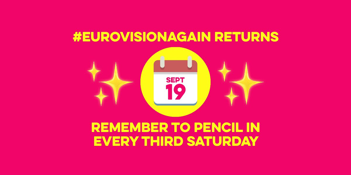 #EurovisionAgain returns on Saturday 19 September 21:00 CEST (and every third Saturday of the month)...  #JoinUs for another classic @Eurovision from the EBU archives.  Download a scorecard, vote for your faves and tweet along using: #EurovisionAgain ✨   Details below 👇 https://t.co/wYRCsPDuVy https://t.co/qv6y7vI1vP