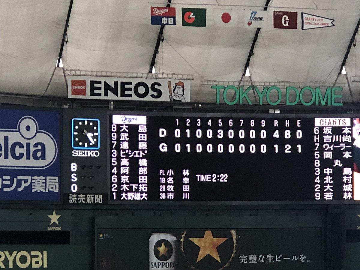 ドラゴンズ勝ったぁー大野雄大投手、3試合連続完投勝利!!おめでとうございます━━━━ 。゚+.ヽ(´∀`*)ノ ゚+.゚━━━━!!!