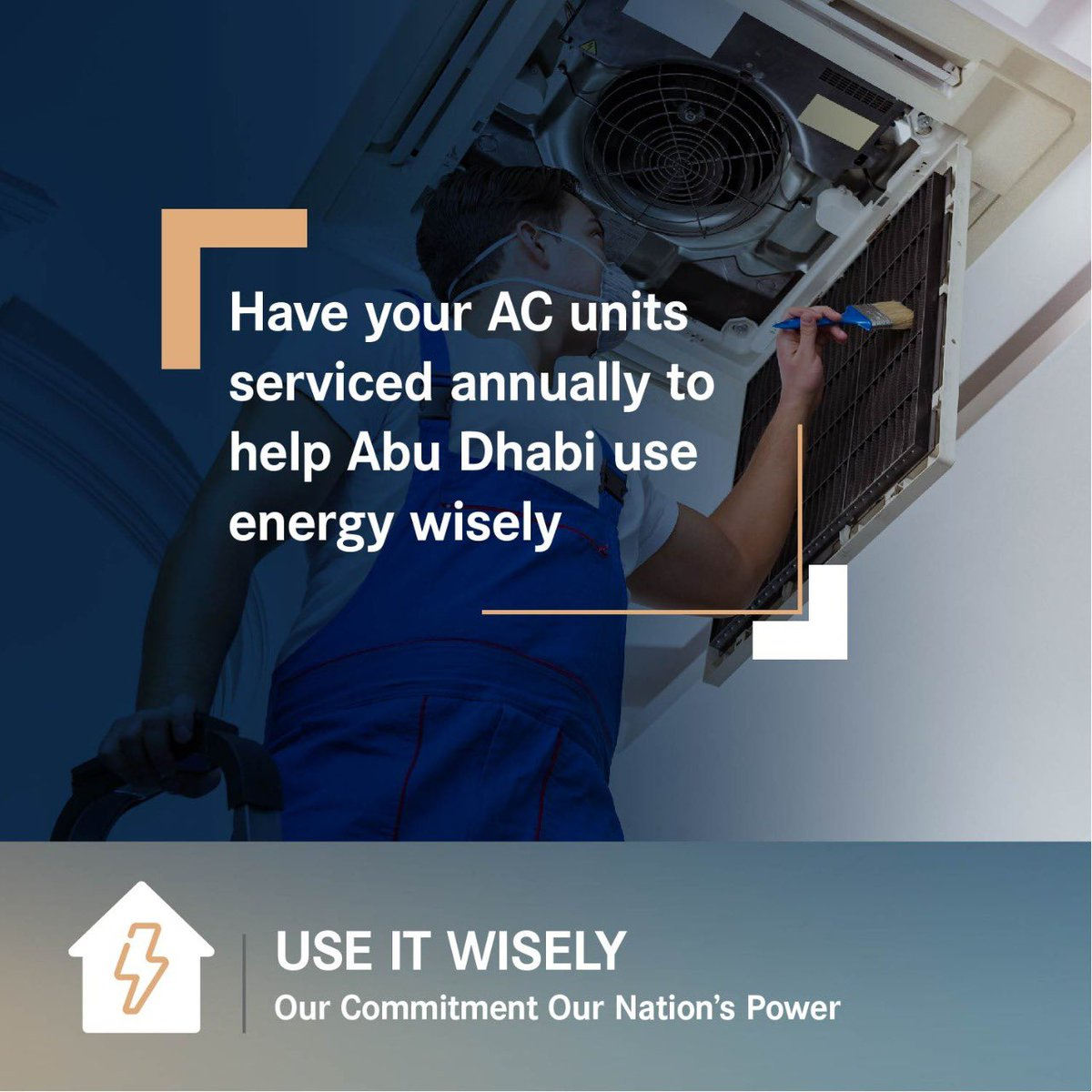 "Have your AC units serviced annually to help Abu Dhabi ""use energy wisely. #UseItWisely  #OurCommitment #OurNationsPower  #YouAreResponsible #DoE #UAE #EnergyConservation #EnergySustainability #EnergySaving #Conservation #AbuDhabi #Energy #TowardsaNewEnergyEra https://t.co/agngp5qGRs"