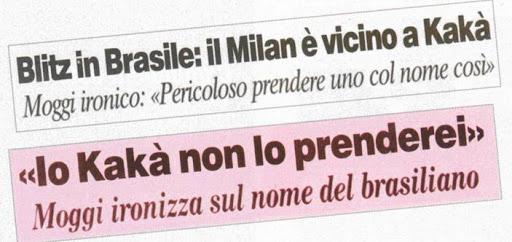 """AC Milan Brasil (de 🏠) on Twitter: """"Luciano Moggi, influente cartola da  Juventus e do futebol italiano, ironizou na época a contratação de Kaká por  parte do Milan: """"É perigoso comprar um"""