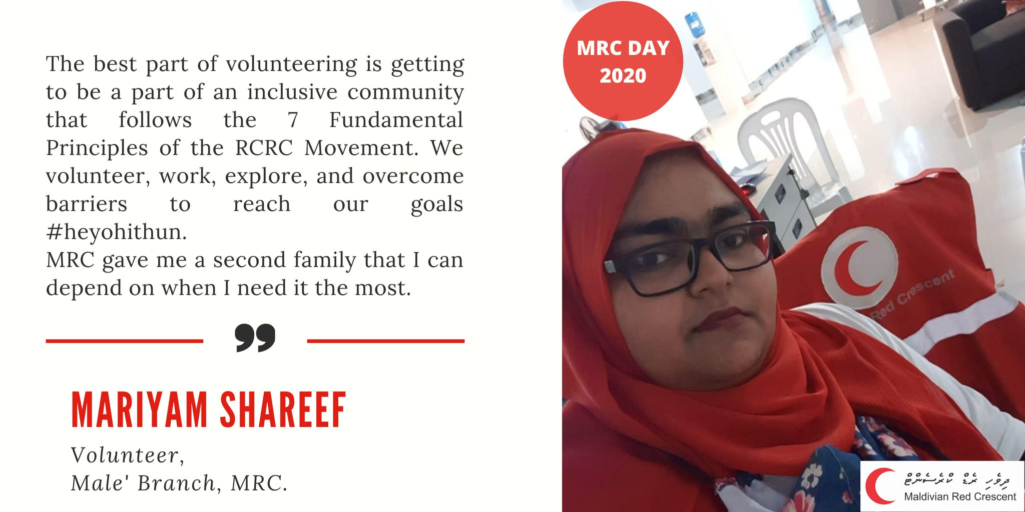 Mariyam Shareef is a volunteer from @MRC_MLE  who has been part of the MRC for a decade!   It is with the support of volunteers that MRC is able to be there for people when they need us the most.   #MRC11  #Heyohithun  #ThanksVolunteers https://t.co/sNt6E68Anb