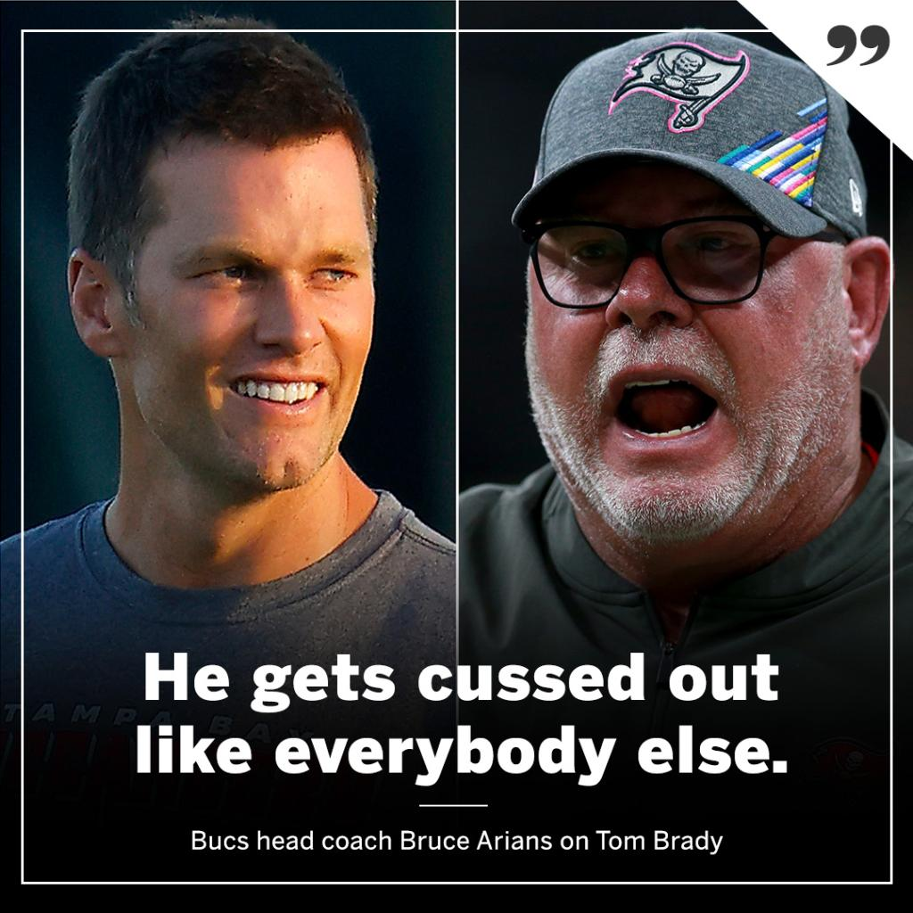 Bruce Arians isn't taking it easy on Tom 😅 https://t.co/PaWWECAClm