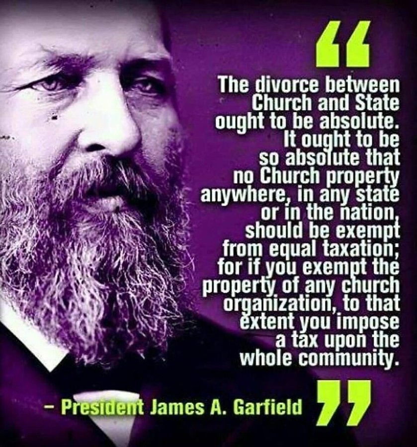 church state separation james garfield constitution assassination
