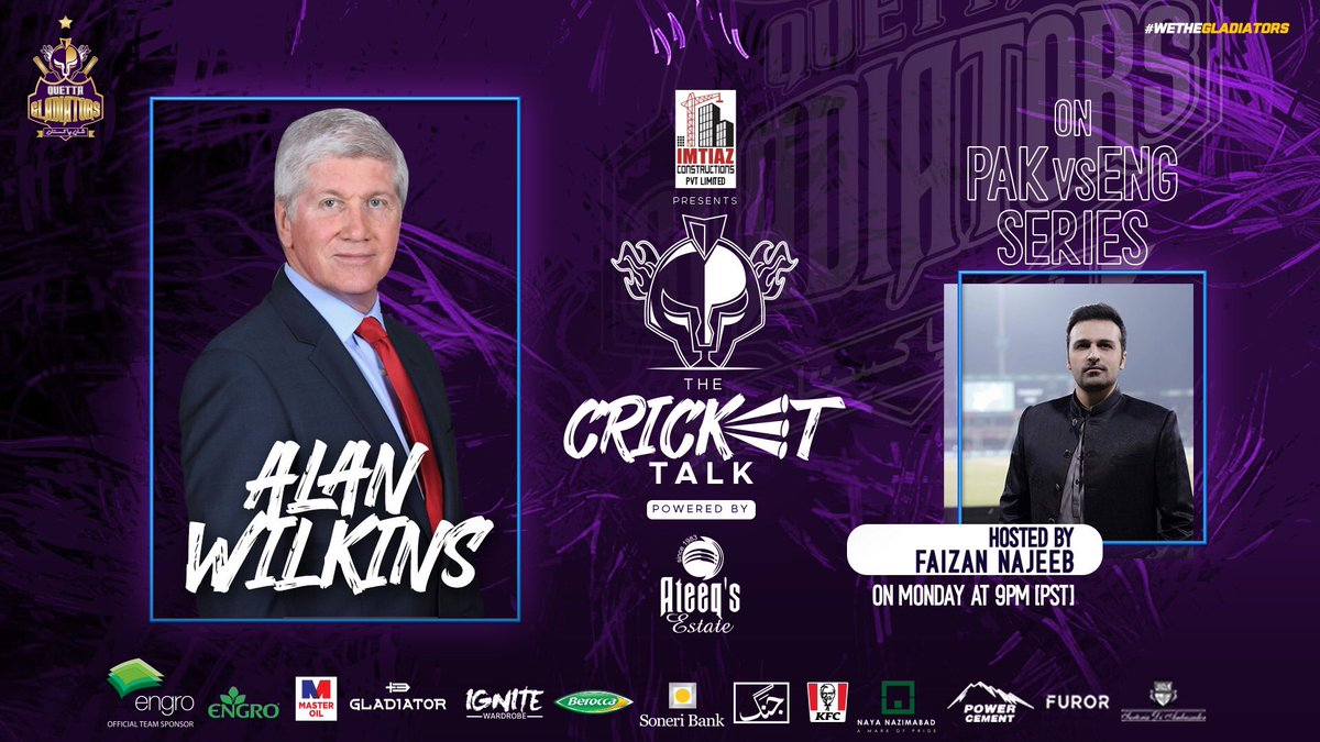 #PurpleForce! Join us tonight in the #TheCricketTalk as renowned sports presenter @alanwilkins22 will be with us to discuss the 🇵🇰🏴 series and the bad weather issues that spoil the current test!  #PAKvENG https://t.co/zyYWKimIxK